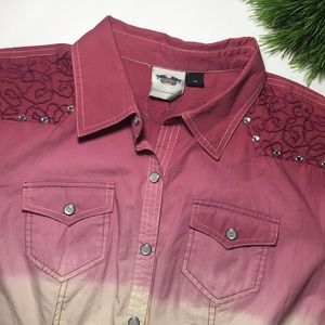 Harley Davidson Pink Ombre Snap Shirt Embroidered